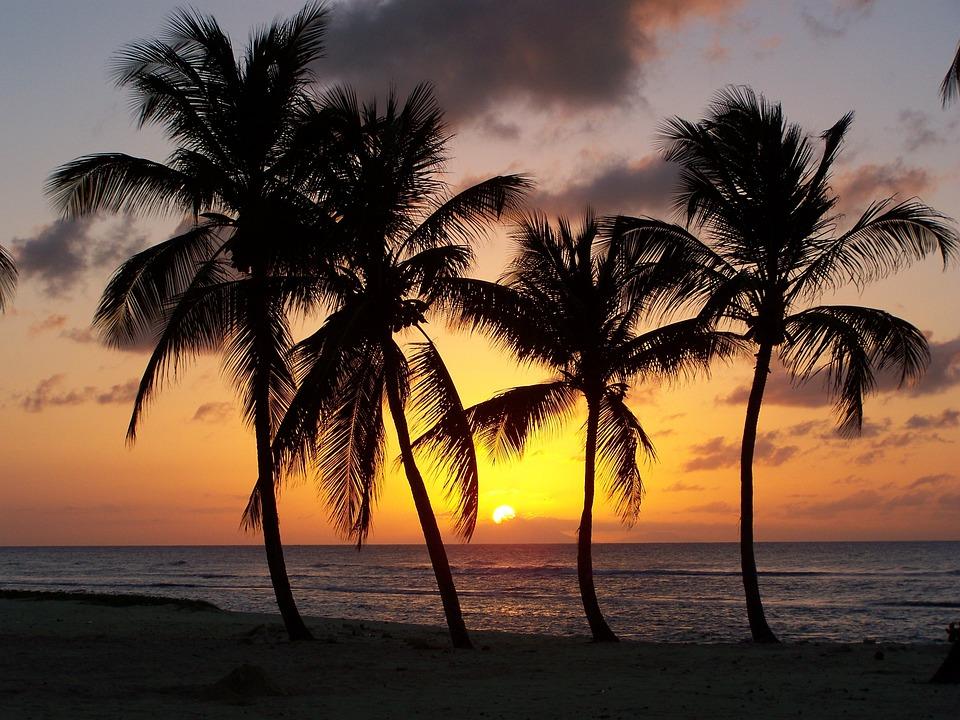 Strand, Guadeloupe, Anse Bertrand, Sonnenuntergang