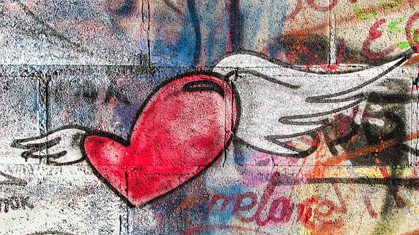 Heart Flying Love Romance Graffiti Wall La