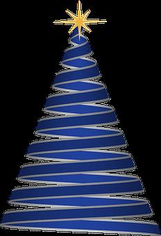 Christmas Tree, Wstążka, Niebieski