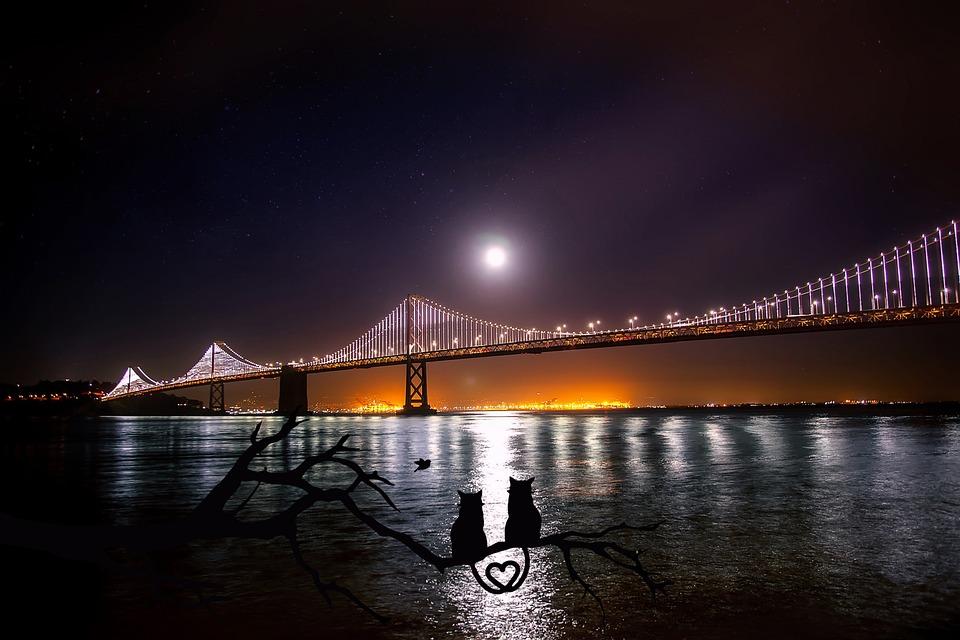 San Francisco, Oakland, Bay Bridge, Water, Reflections