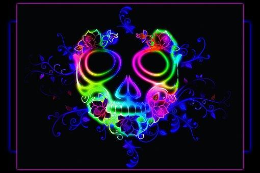 Girl Skull Background