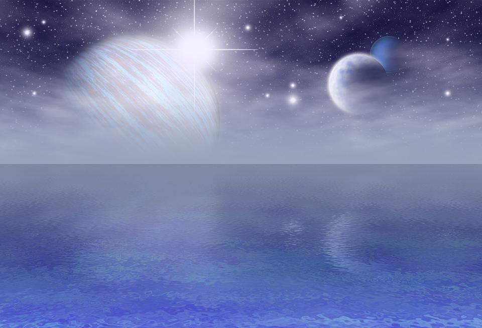 青, 惑星, ファンタジー, 3 月, 海, 反射, 壁紙, バック グラウンド, 超現実的です, 空, 衛星