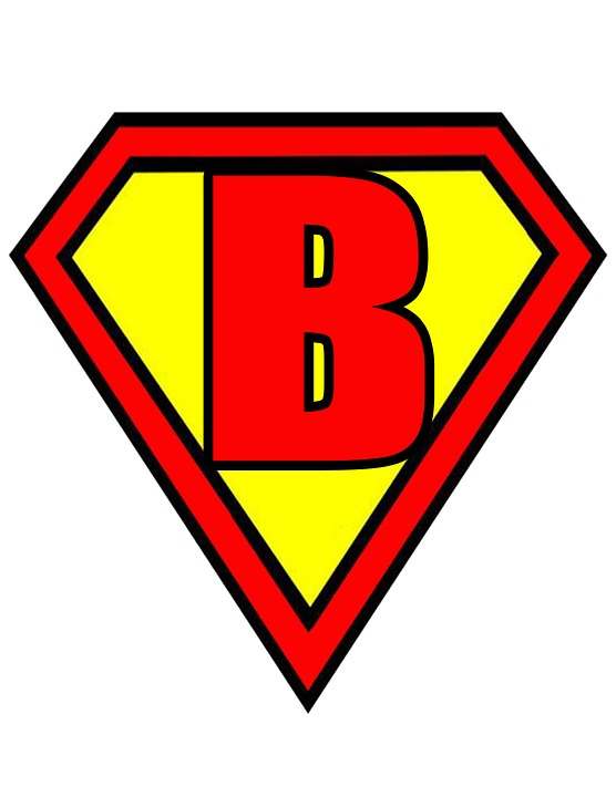 Incroyable Letter B Superman Style Red Yellow Flags