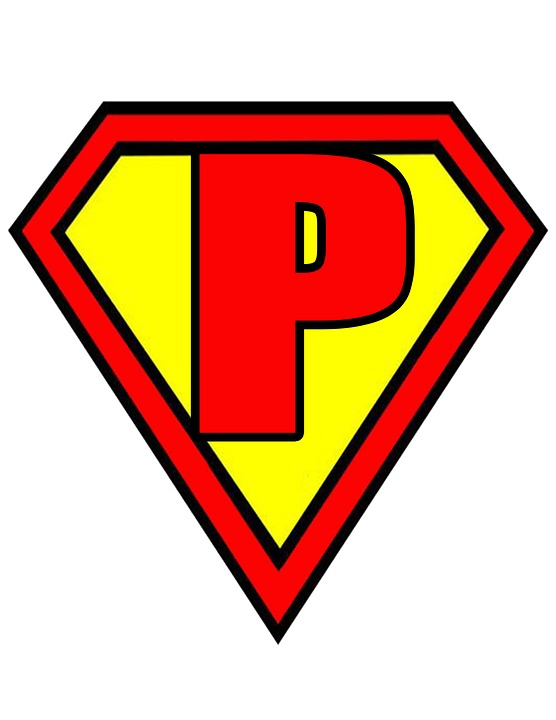 Letter P Superman Style Red Yellow Flags