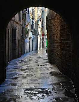 Goal, Alley, Passage, Wet, Atmospheric