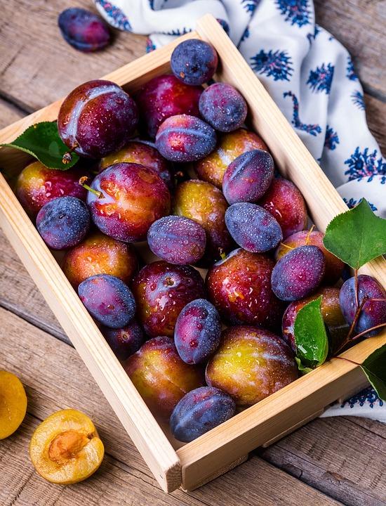 Plommon, Box, Frukt, Sommaren, Stilleben, Vitaminer