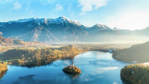 Mountains, Lake, Fog, Foggy, Haze, Misty