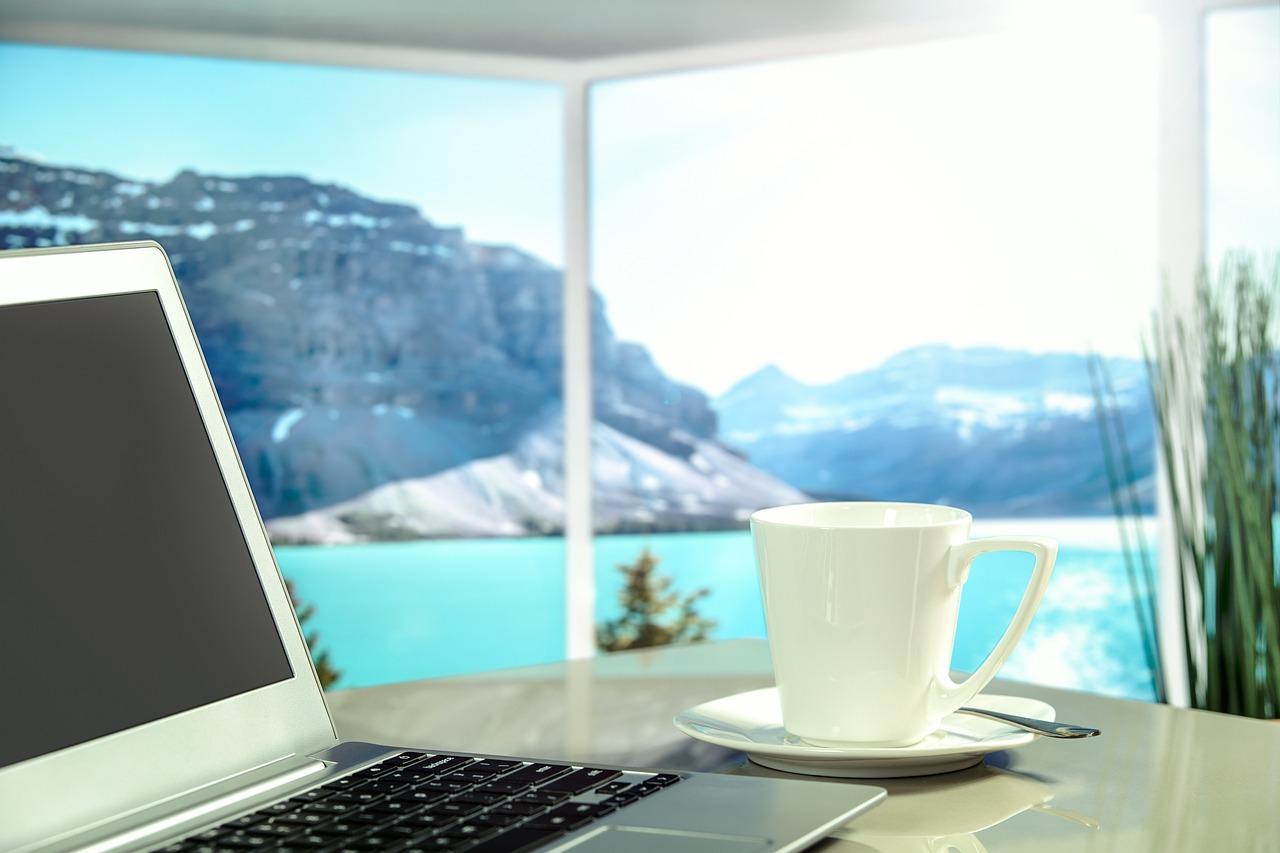 アパート, ホテル, 高級, ビュー, 海, 山脈, 太陽, 休日, 仕事, ノートPc, ノート, コーヒー