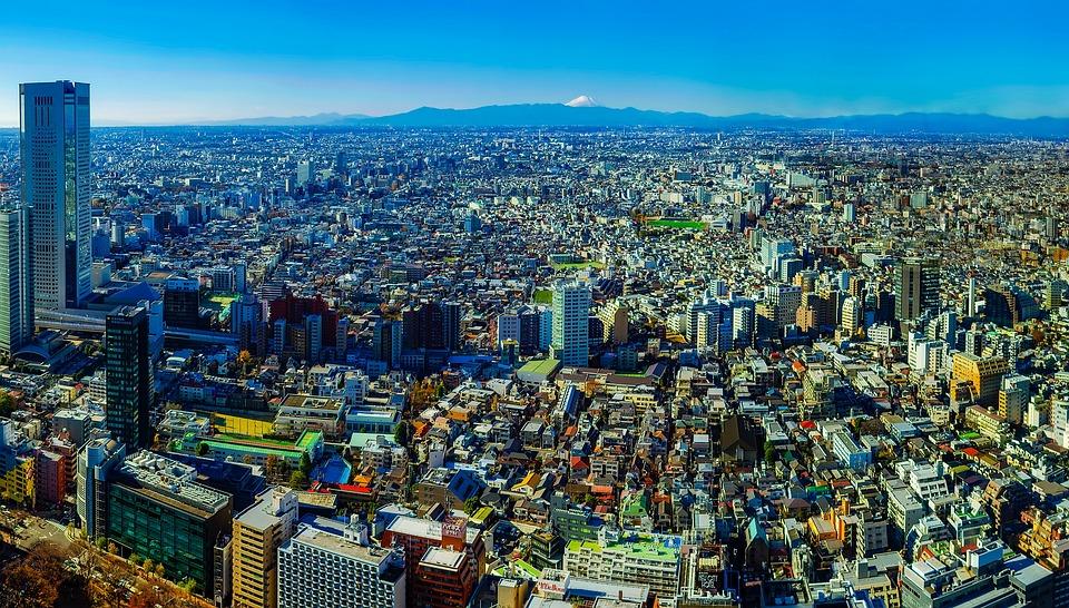 Tokyo Japan Panorama City Urban Buildings Dense