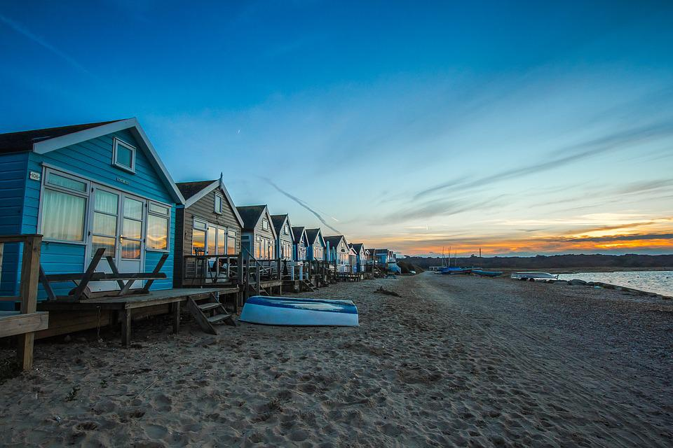 Coast, Cabins, Sunset, Ocean, England, Holiday