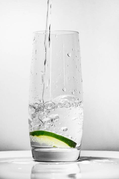 水ガラス, 緑のレモン, 水, ガラス, 飲み物, 鮮度, ドリンク, コップ1杯の水, 爽やか, 夏