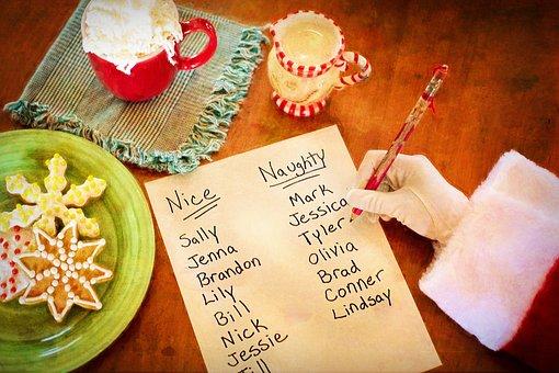 Santa'S List Naughty Or Nice Santa'S Arm C