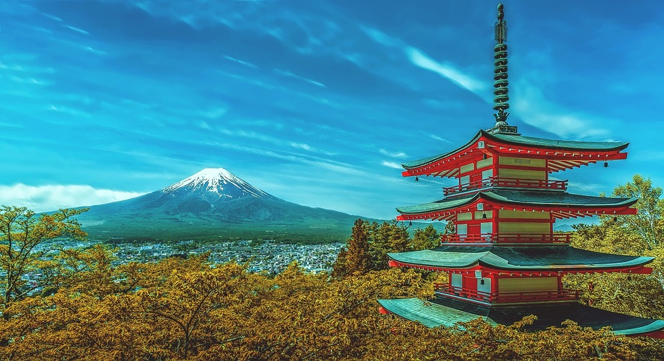 Japan, Pagoda, Fuji, Volcano, Fuji Volcano, Snow Fall