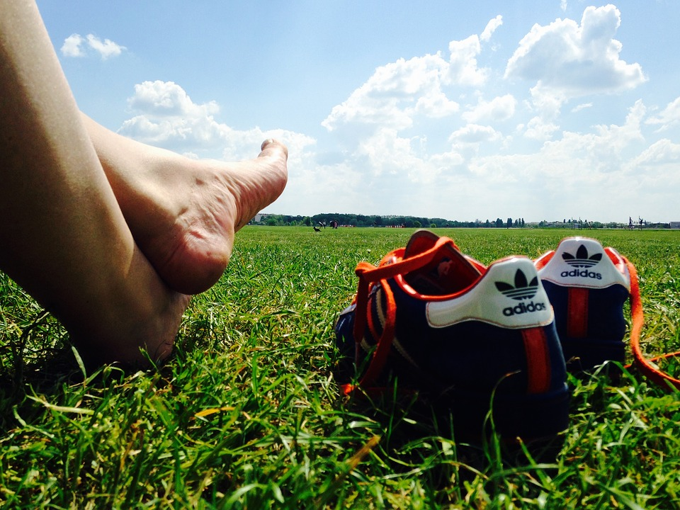 Relax, Feet, Barefoot, Shoe, Grass, Blue Sky, Clouds