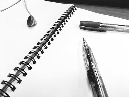 Os livros de registro, nota, caneta