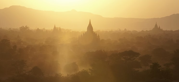 Bagan, Myanmar, Coucher De Soleil