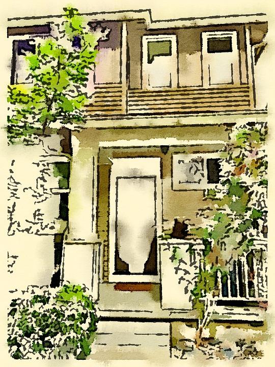 front door drawing. Watercolor Drawing Front Door Home