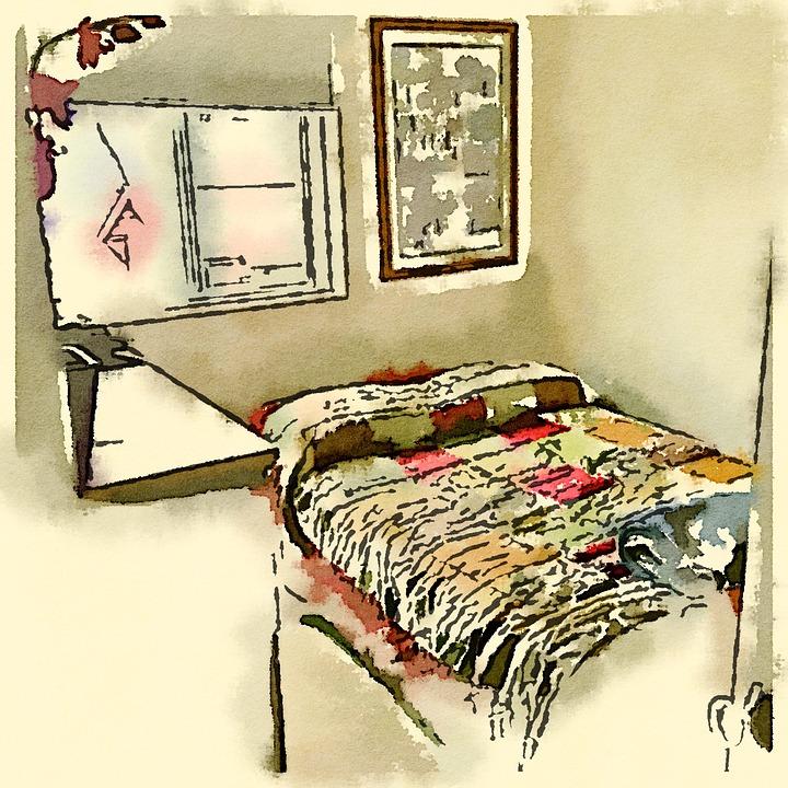 Kostenlose illustration schlafzimmer aquarell zeichnung for Bett zeichnung