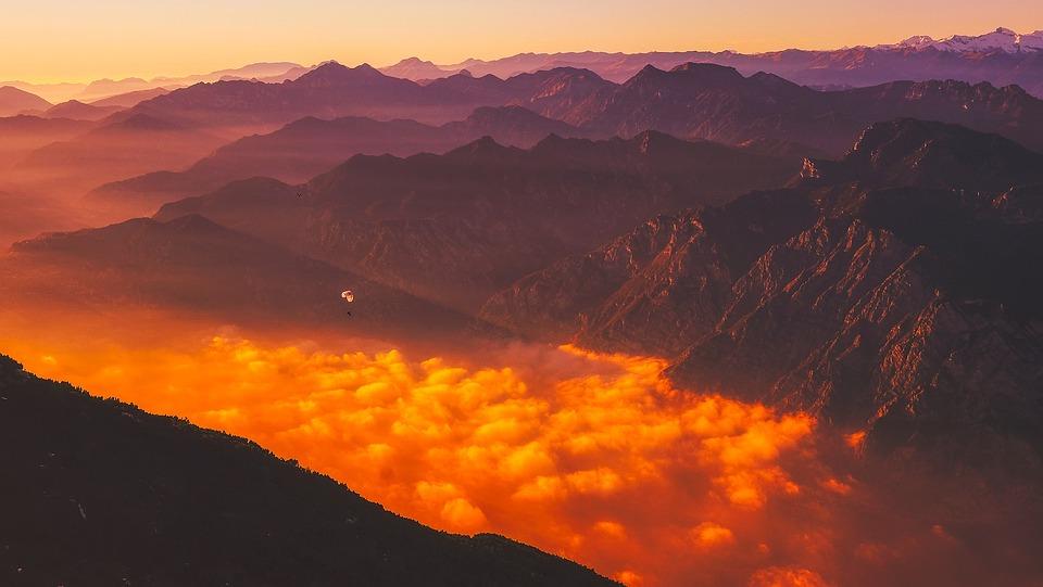 Italia, Parapendio, Montagne, Sunrise, Alba, Cielo
