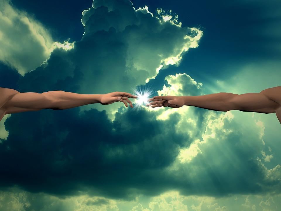 Creación, Dedo De Dios, Nubes, La Luz, Fondo, Dios