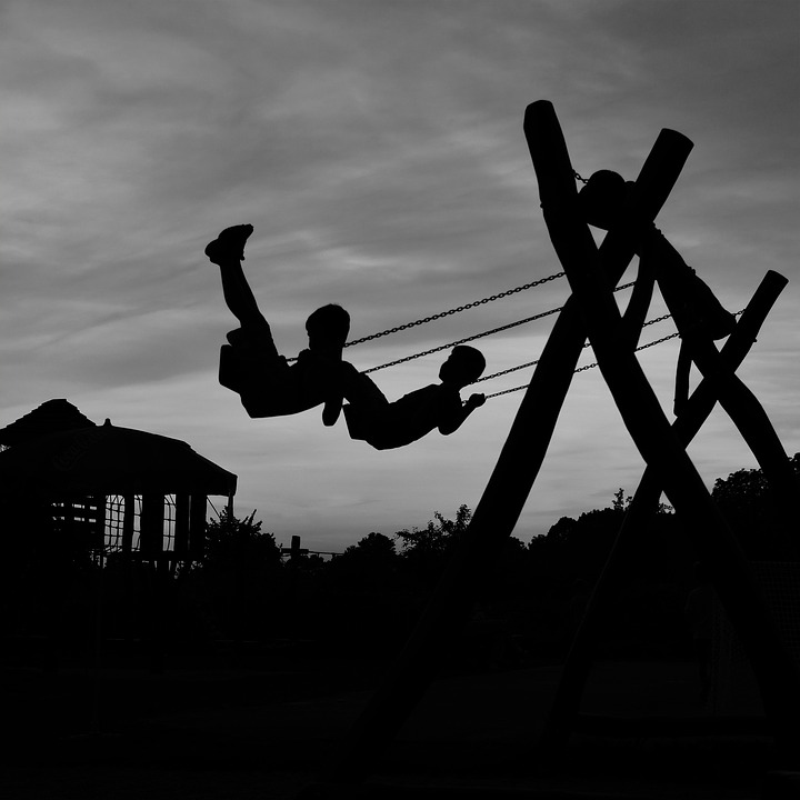 Swing, Children, Two, Silhouette, Black And White