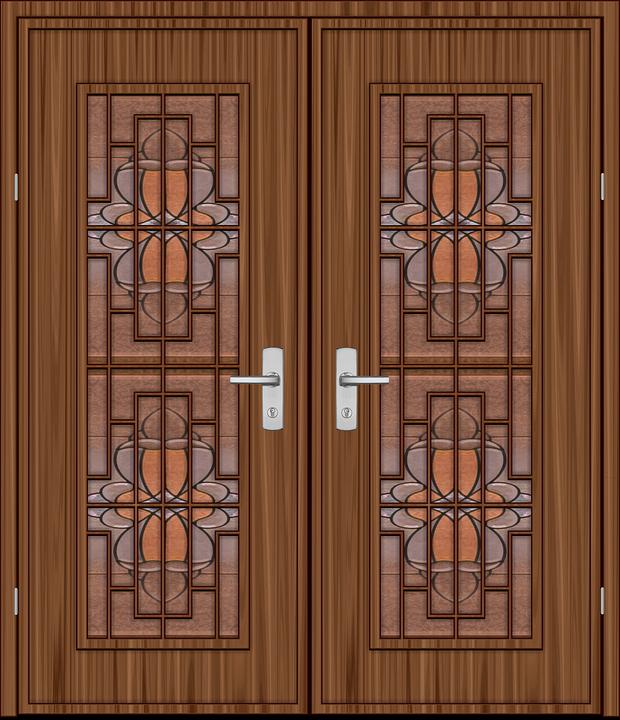 la puerta madera tableros vitral castillo