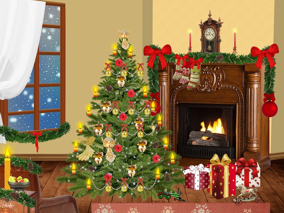 christmas living room. Christmas  Living Room House Fir Winter Snow Tree Free illustration Image
