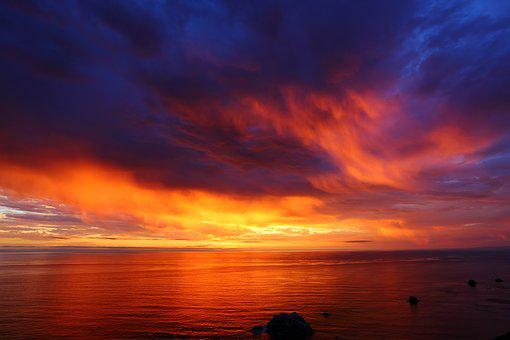 Puesta De Sol, El Océano Pacífico, Tarde