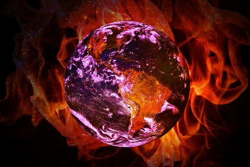 Climate Change Global Warming Earth Flame
