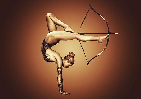 Girl, Sport, Bow, Arrow, Exercise