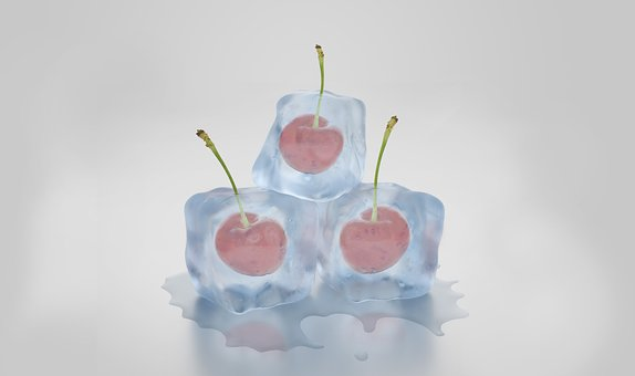 Ice Cubes Cherries Frozen Melt Ice Cold Tr