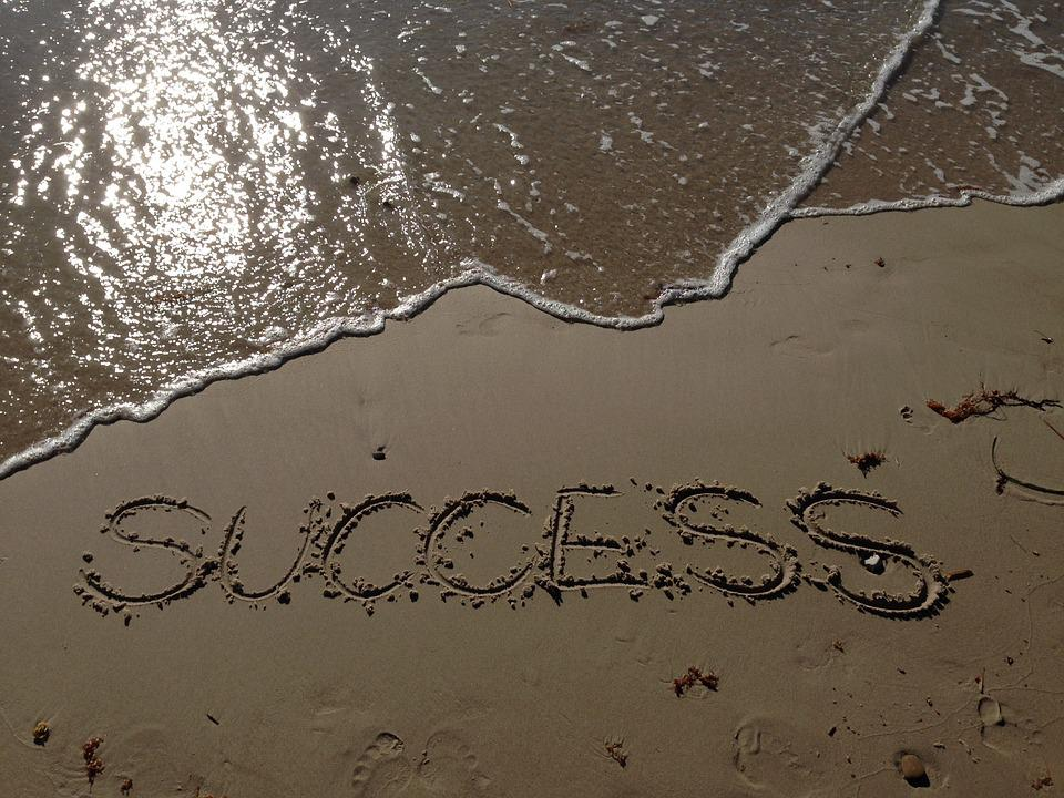 Success, Sand, Sea, Beach, Writing, Lettes, Words
