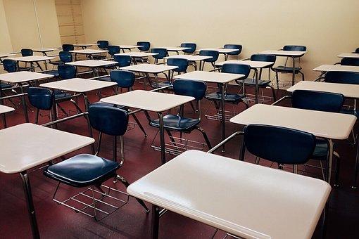 Classroom, School, Desks, Rows