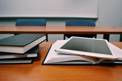 タブレット, 書籍, 教育, デスク, 教室, 学校