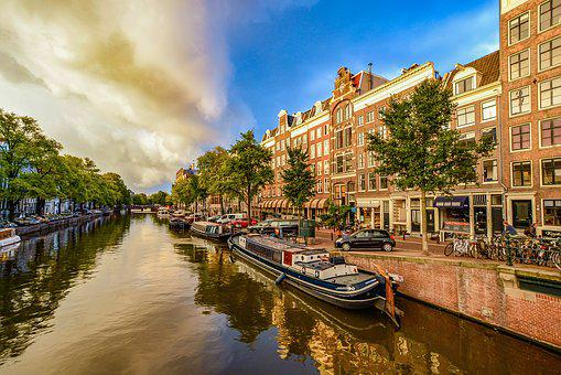 Amsterdam, Canal, Storm, City, Sky