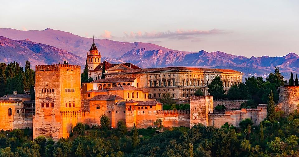 Pałac, Zamek, Karola V, Granada, Hiszpania, Góry