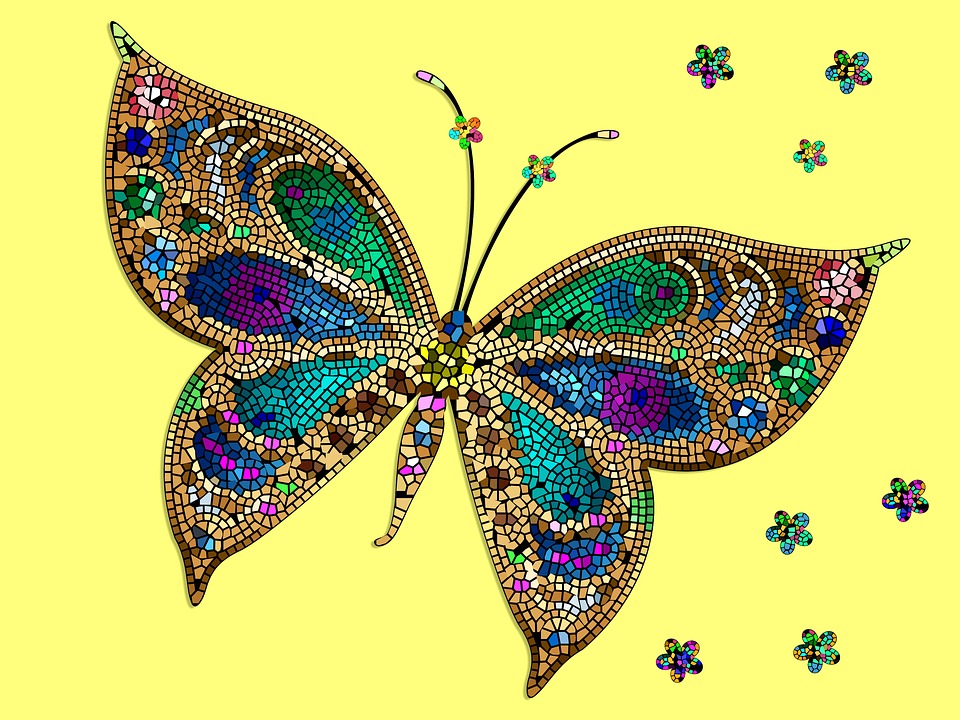 Butterfly, Mosaic, Yellow, Colorful, Mural, Decoration
