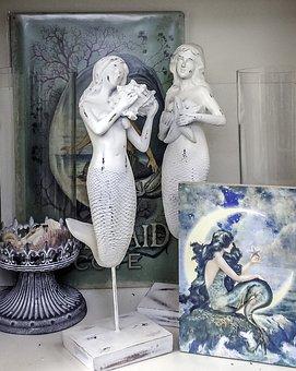 人魚, 像, 装飾, 海洋, 海, 彫刻, 女性