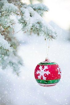 Christmas Ornament, Bulb, Snowy Tree