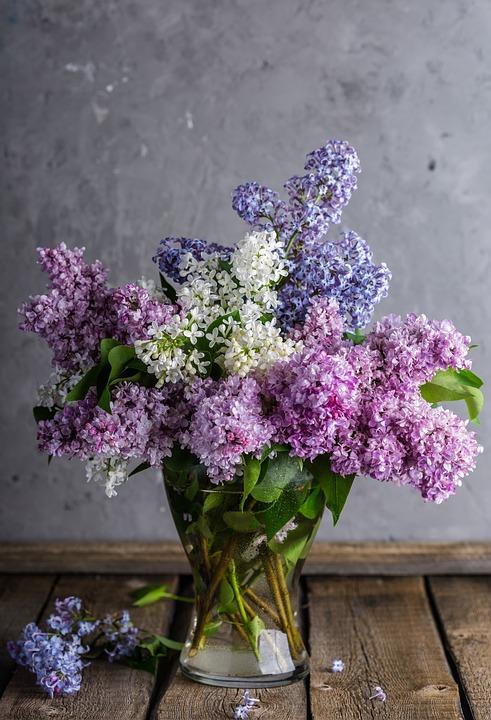 ライラック, 花束, 花瓶, 花, 花瓶の花, センター ピース, 紫の花, ブルーム, 植物, 素朴な