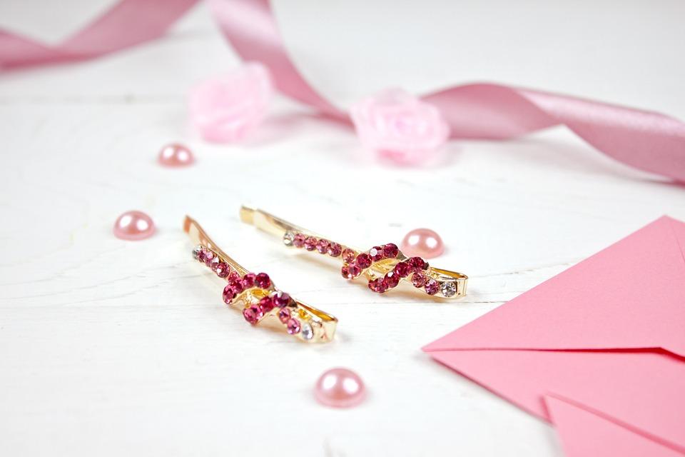 金, 髪, アクセサリー, ピンクの宝石, ファッション, ヘアピン, ジュエリー, 女性のアクセサリー