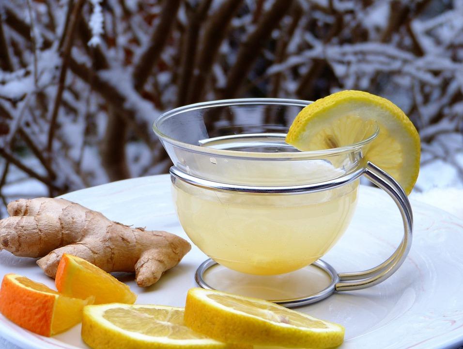 Limone, Ginger, Arancione, Neve, Caldo, Drink, Tee