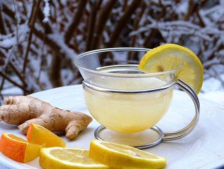 Lemon, Ginger, Orange, Snow, Hot, Drink