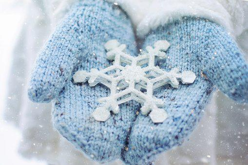 Snow, Winter, Mittens, Snowflake, Cold