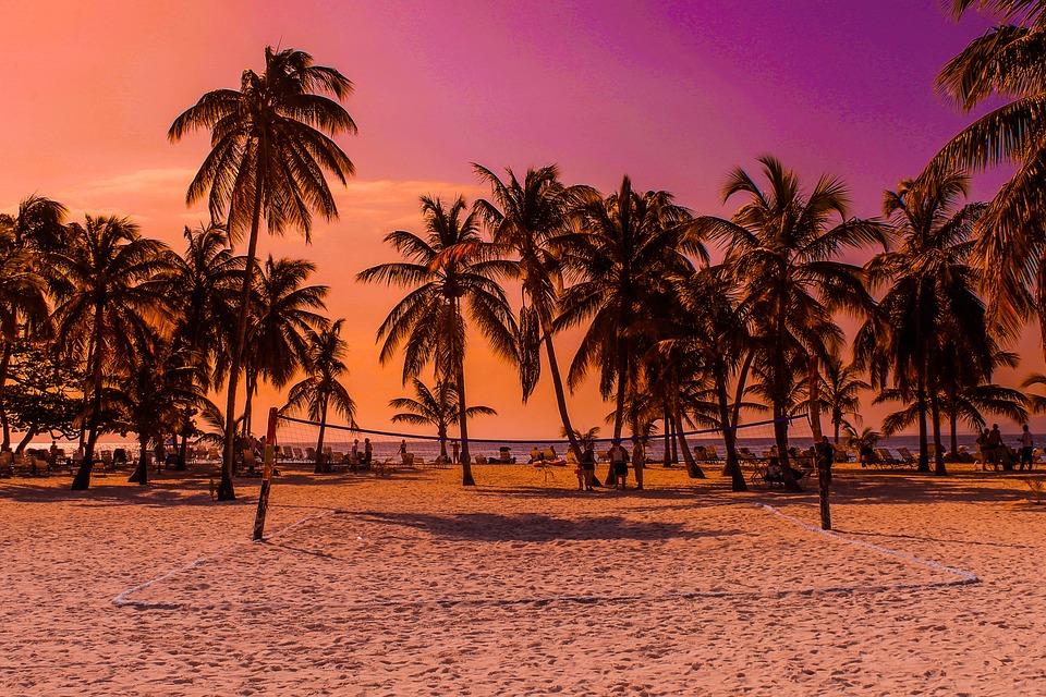 Caribbean Beach Sunset Holiday Sea Palm Trees