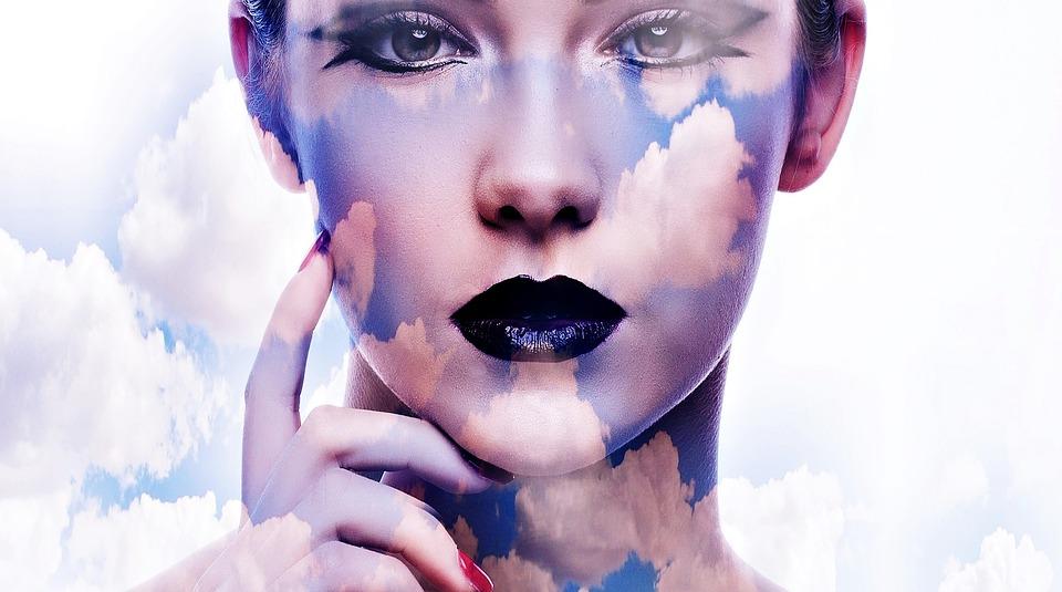 Woman, Sky, Clouds, Blue, Beautiful, Mood, Light Effect