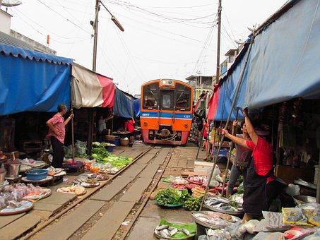 철도 시장, 매, 사뭇 송 크람, 태국, 기차, 판매