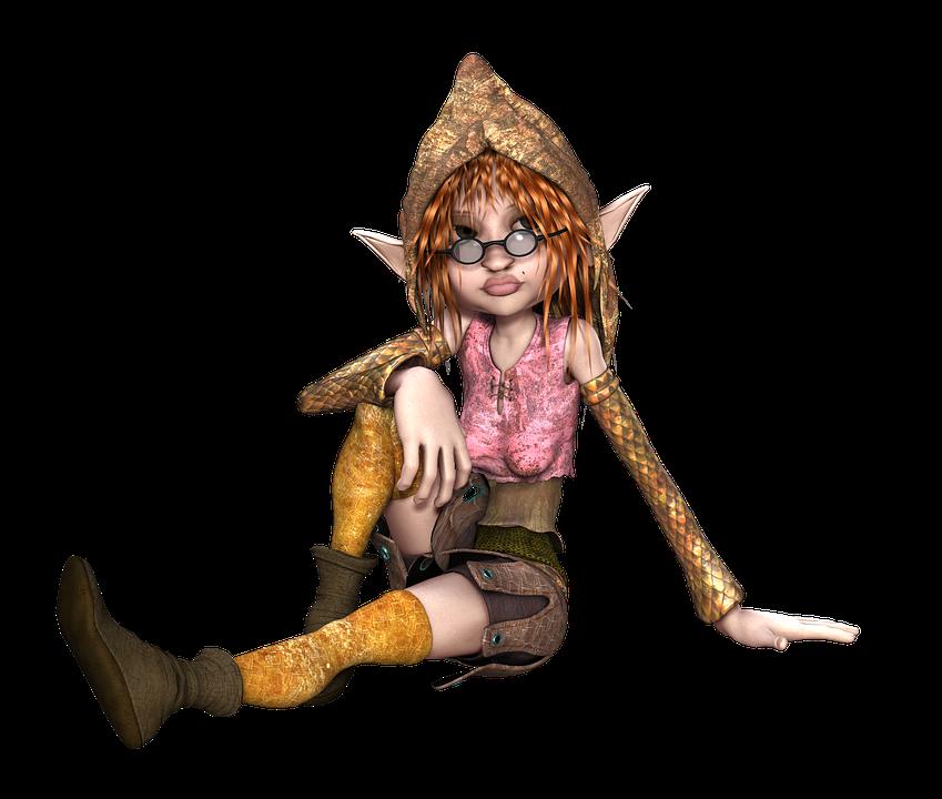 Elf, Female, Sitting, Ears, Fantasy, Character, 3D
