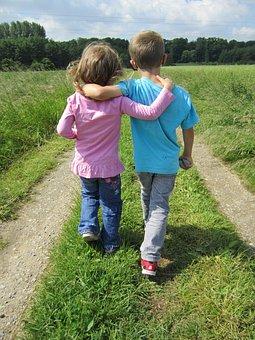人間, 子供, 友情, 子, 女の子, 少年, 外, 離れた, 子供に優しいです
