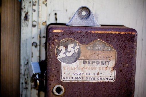 ビンテージ, コイン, セーフティ, 25セント, 古い, 古いマシン, さび